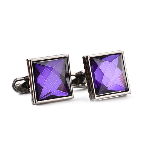 Men's Crystal Zircon Fine Design Square Cuff Buttons Accessory
