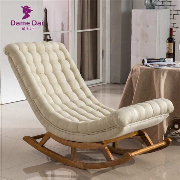 Outstanding Modern Design Rocking Lounge Chair Fabric Upholstery And Wood For Home Furniture Living Room Adult Luxury Rocking Chair Chaise Cjindustries Chair Design For Home Cjindustriesco