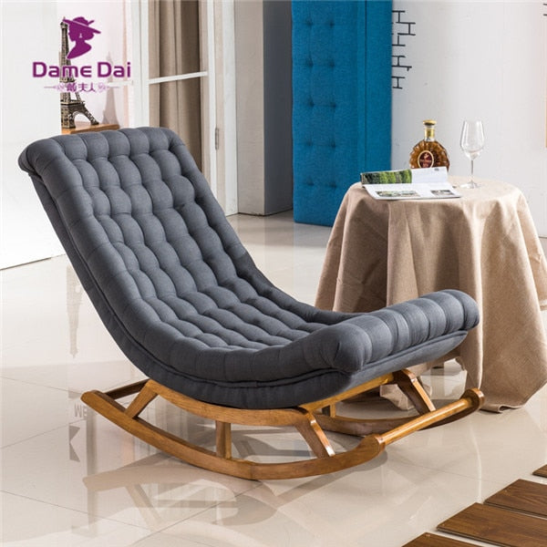 best service 93933 0e1dd Modern Design Rocking Lounge Chair Fabric Upholstery and Wood For Home  Furniture Living Room Adult Luxury Rocking Chair Chaise