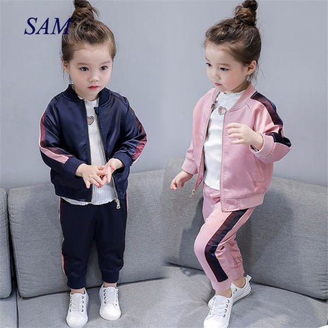 2019 autumn new girls baseball uniform zipper shirt jacket + trousers sports two-piece clothing sets for chiildren's clothes