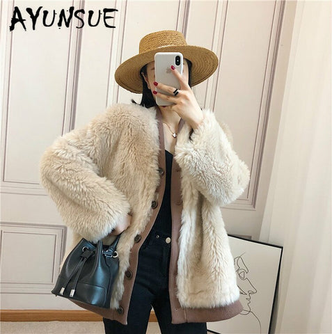 Autumn Winter Coat Women Clothes 2019 Sheep Shearing Real Fur Coat 100% Wool Jacket Women Korean Fashion Fur Tops Xl905 YY1902