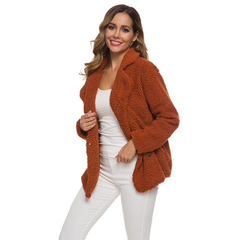 Autumn Winter Faux Fur Coat Women Oversize Casual Slim Double-breasted Teddy Coat Fur Jacket Female Plus Size Warm Outwear 2020