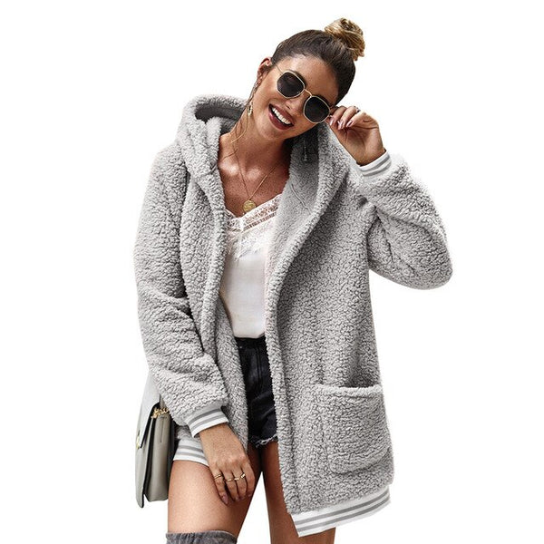 Autumn Winter Hoodies Faux Fur Coat Women 2019 Casual Loose Oversize Thick Warm Teddy Jacket Female Long Outwear Fourrure Femme