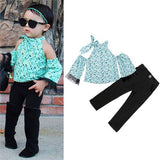 Children Sets for Girls Fashion 2019 New Style Girls Suits for Children Girls T-shirt  + Pants + Headband 3pcs. Suit ST307