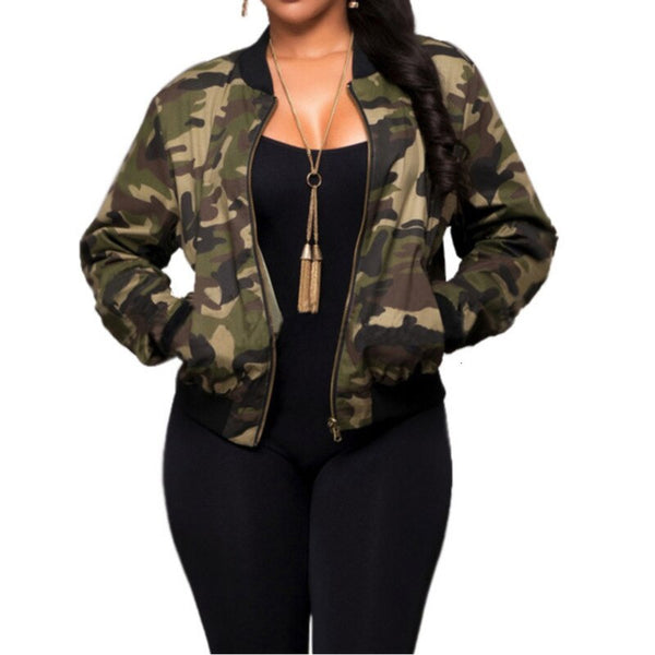 Coats And Jackets Women 2019 O-Neck Camouflage Print Casual Zipper Winter Long Sleeve Ladies Jacket