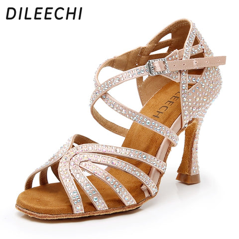DILEECHI Latin dance shoes women's Ballroom dancing shoes Bronze satin Shining Rhinestone Cuban high heel 9cm Salsa Beige Black
