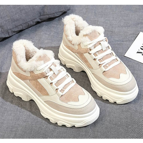 Dumoo Women Casual Sneakers Winter Sneakers Plush Fur Warm Women Shoes Platform Heel 5cm White Shoes Women Zapatillas Mujer