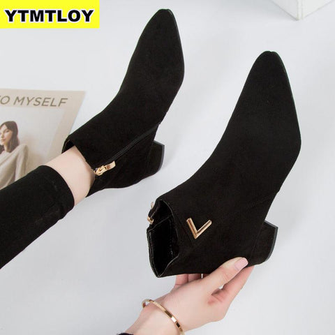 Fashion Women Boots Casual Leather Low High Heels Spring Shoes Woman Pointed Toe Rubber Ankle Boots Black Red Zapatos Mujer
