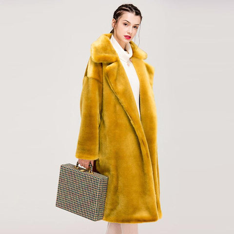 Faux Fur Coat Women Casual Luxury Thick Warm Long Loose Coat Oversize Fur Jackets Female Plush Outwear Cotton Lining Winter 2020