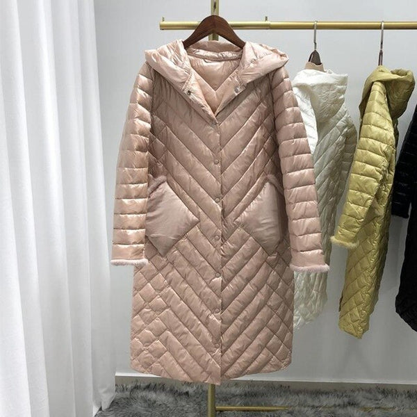 Fitaylor Winter Ultra Light Hooded 90% White Duck Down Parka Women Patchwork Mink Hair Down Jacket Single Breasted Loose Outwear