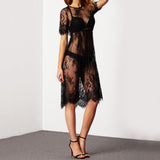 ROPALIA Summer Sexy Women Lace Dress Transparent Casual Short Sleeve Beach Dress O Neck See Through Vestido