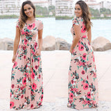 Women Long Maxi Dress 2019 Summer Floral Print Boho Beach Dress Short Sleeve Evening Party Dress Tunic Vestidos
