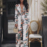 Jumpsuits for Women 2018 Women Sexy V-Neck Floral Leaf Printed Long Sleeve Sparkly Capelet Loose Playsuit