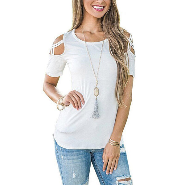 ZSIIBO Women Summer Short Sleeve Strappy Cold Shoulder T-Shirt Tops t shirt Women Short O-neck Top Tees Feminina Camiseta