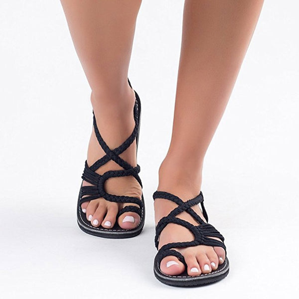 2019 summer Women Sandals Fashion Gladiator Sandals Summer Shoes Female Flat Sandals Rome Style Cross Tied Sandals Shoes 35-44