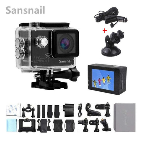 Sansnail Action camera Ultra HD 4K 24fps WiFi NTK96660 2.0 inch 16MP 170D Len Helmet Cam Waterproof 30M Extreme Sport Cam