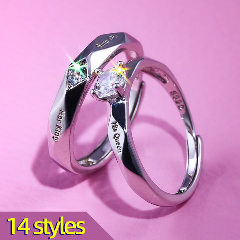 Huitan Trendy Couple Pledge Love Token Ring Sets With Letter His Queen&Her King Engraved Wedding Ring For Women&men Finger Rings