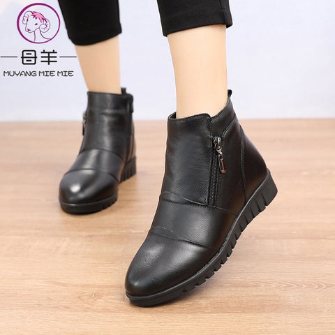 MUYANG 2019 Fashion Ankle Boots Women Genuine Leather Flats Boots Winter Shoes Woman Warm Non-Slip Black Brown Women Boots