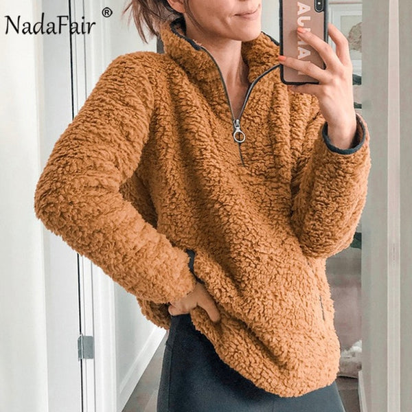 Nadafair 2019 Winter Fluffy Sweater Casual Fleece Warm Oversized Sweater Women Fuax Fur Pullovers Winter Coat Ladies Jumpers