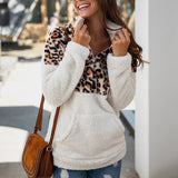 Nadafair Fluffy Sweater Leopard Patchwork Zip Pockets Fleece Casual Plus Size Winter Pullover Women Oversized Sweater