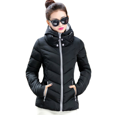 Nicesnowl Solil Fur Hooded Thicken Zipper Long new Down Coats Women Casual Long Sleeve Warm Cotton Coats Female women down coat