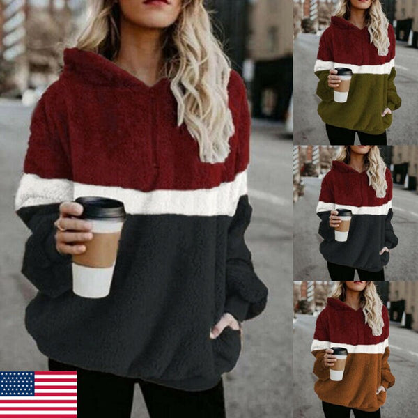 Plus SIze Winter Women  Casual Warm Long Sleeve Slim Pullover  Fluffy Fleece Pocket Hoodies Sweater Hooded Zipper Jumper Coat