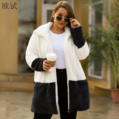 Plus Size Autumn Winter Faux Fur Panda Cardigan Long Coat Women Plush Warm Thicken Patchwork Coats Woman Fake Fourrure Jacket