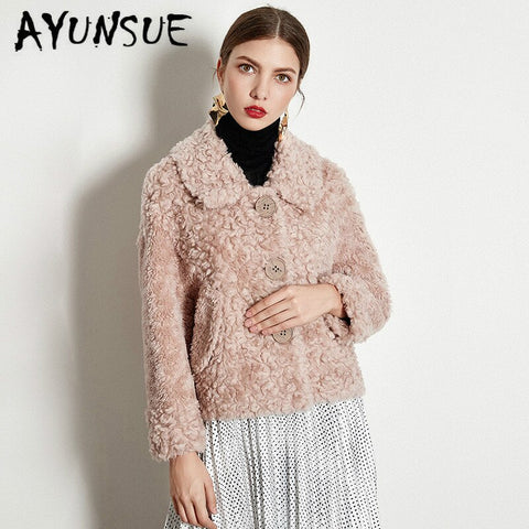 Real Fur Coat Women Clothes 2019 Autumn Winter Coat Women Sheep Shearing 100% Lamb Fur Jacket Korean Fur Tops 1930-Q YY1901