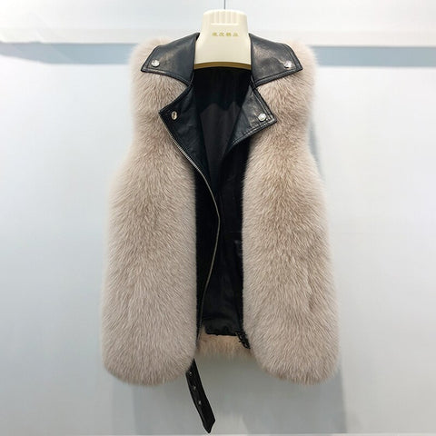Real fur vest real fox fur motoral fur vest real fox fur sheepskin leather vest 2019 motorcycle style overcoat