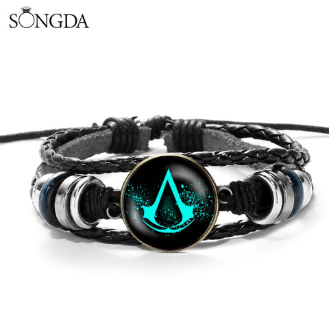 SONGDA Assassins Creed Multilayer Wood Bead Bracelet  Casual Fashion Woven Leather Bracelet Bangle Retro Punk Wrap Wristband