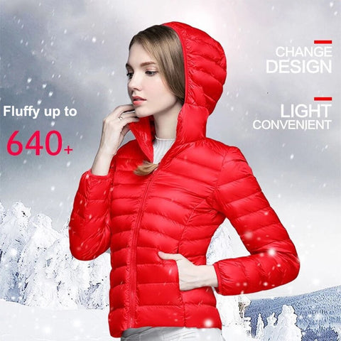 Sale Winter Women Ultra Light Down Coat Jacket White Duck Down Hooded Jackets Warm  Parka Solid Portable Outwear Coat 4XL