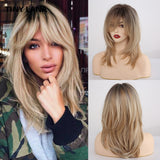 TINY LANA Medium Wavy Wig with Bangs High Temperature Synthetic Wigs for Women Mixed Color Black Brown Blonde Gray Cosplay Wigs