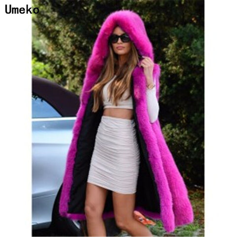 Umeko New Faux Fox Fur Women Winter Fashion Medium Long Artifical Fox Fur Woman Warm Fake Fox Fur Coats Female Ladies