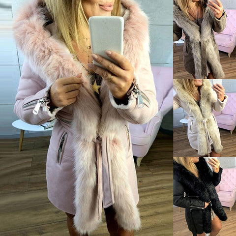 Winter Bonnet Winter Coat Parker Casual Jacket Ladies Large Plush Hat Coat Oversized fur collar warmth thickening Coat