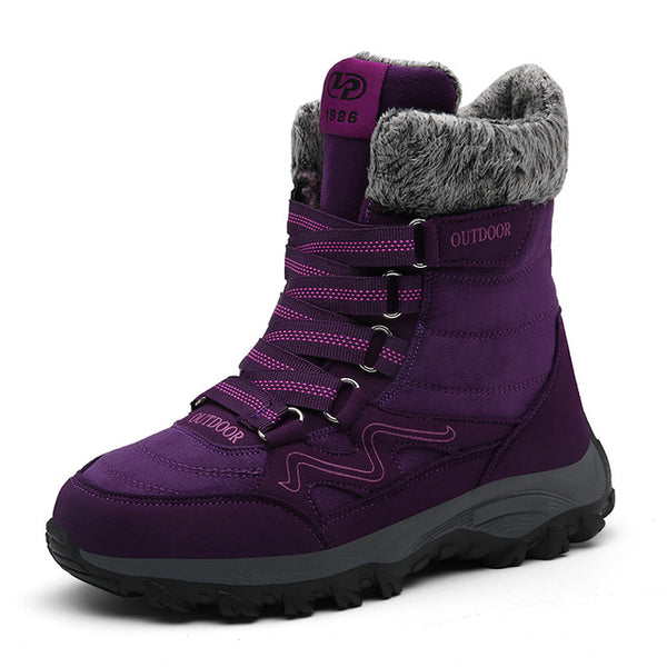 Winter Women Boots Man Genuine Leather Warm Flat Platform Boots Fur Waterproof Snows Sneakers Plush Couples Ankle Boots Women