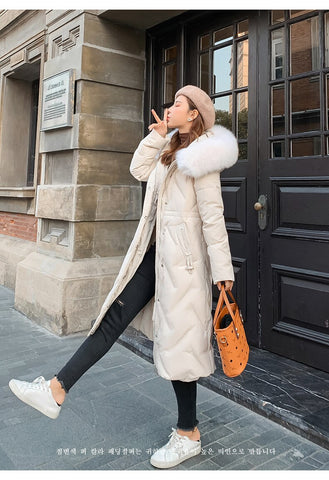 Winter wear 2019 new down jacket women's fashion version of the long version of the Korean version of the fox fur coat