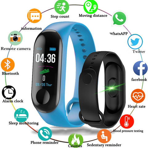 Women Men Smart Fitness Watch Bluetooth Bracelet Male Digital Sport Wristband Heart rate Blood Pressure Pedometer on Android iOS