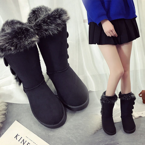 Women Snow Boots Large Size High Tube Classic Thick Fleece Models Autumn And Winter Snow Boots Big Cotton Shoes Quality Boots