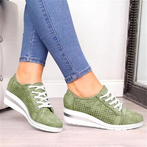 Women Wedge Shoes Summer Autumn Casual Canvas Sneakers Breathable Platform Sneakers Meddle Heel Pointed Toe Pump Air Mesh Shoes