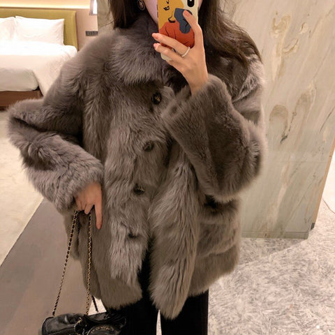 fur Genuine Knitted coat for Women Raccoon Fur collar Jacket Trench Outwear fashion street party jacket Real fur 2019