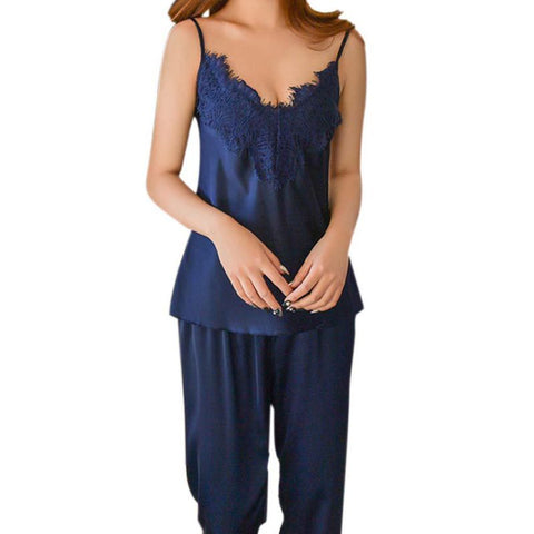 Women Pajamas Long Pant Faux Silk Lace Bow V-neck Sleepwear Lace Lingerie Sleeveless Lingerie LL2