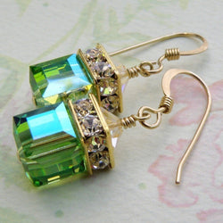 4c98af9c060 Vintage Green Zircon Crystal Square Big Stone Women Earrings Fashion  Jewelry Christmas Gift