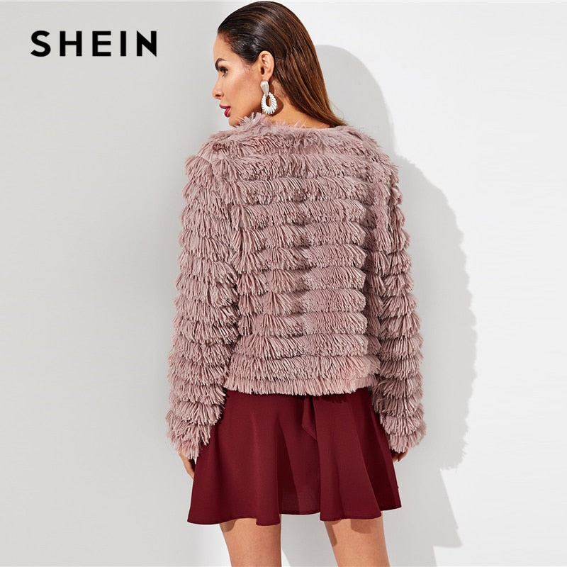 b17f669709 SHEIN Pink Open Front Layered Fringe Coat Solid Long Sleeve Modern Lady  Faux Fur Coat 2018