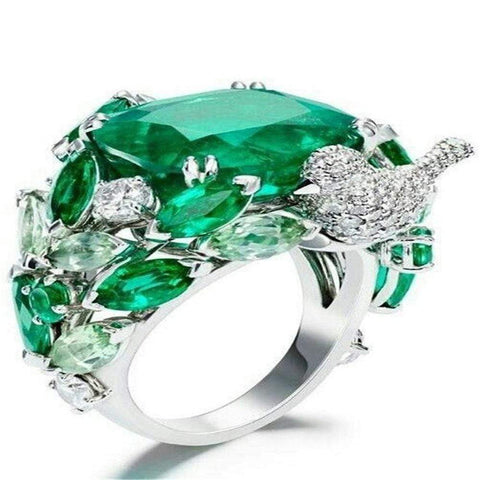 Crystal Bird Ring | Luxury Green Stone