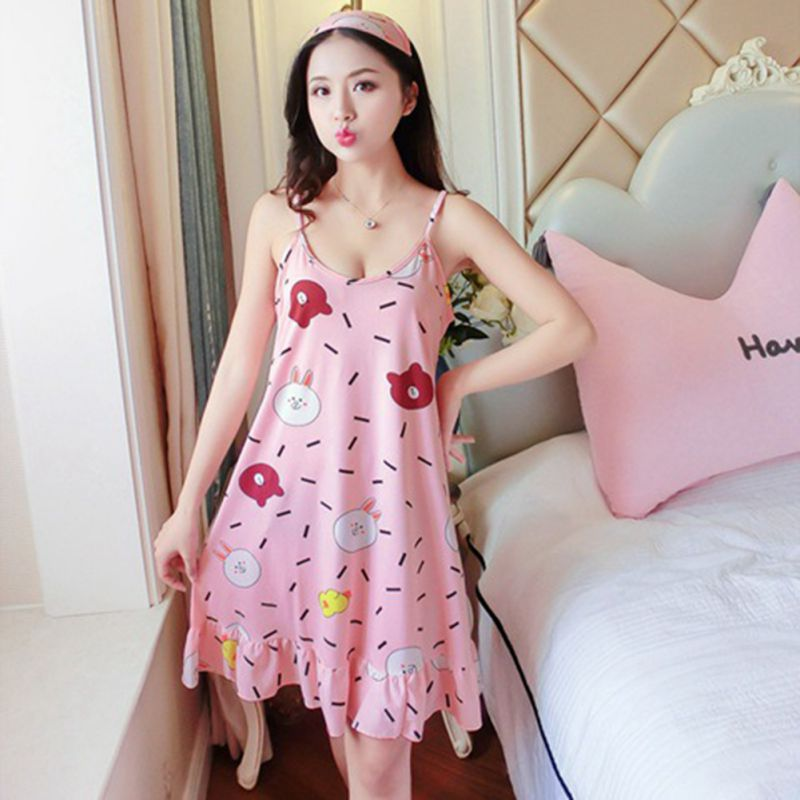 16d7fd39c684 Women Sleep Wear Night Dress with Eyemask Lingerie Nightgown Plus Size  Spaghetti Strap Kawaii Nightdress Cute