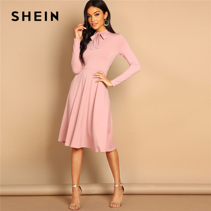 a17513990b SHEIN Pink Bow Tie Neck Solid Flowy Slim Fit Dress Elegant Office Lady  Turtleneck Knee Length