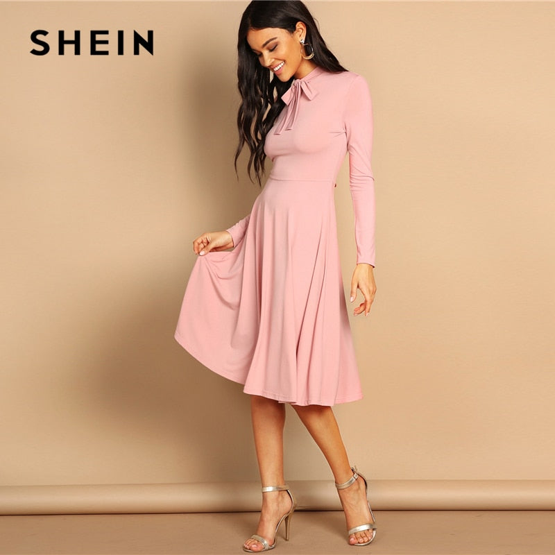 d8fe411c2a SHEIN Pink Bow Tie Neck Solid Flowy Slim Fit Dress Elegant Office Lady  Turtleneck Knee Length