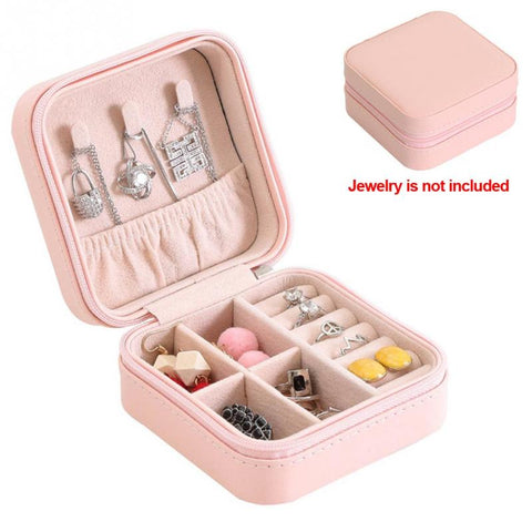 Women Portable Display Organizer Necklaces Zipper Case Women Storage Earring Ring PU Bracelet Travel Jewelry Storage Box