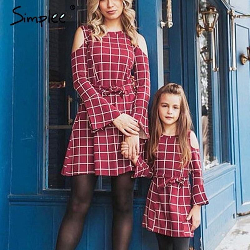 e9ced86455e3 Mother daughter plaid dresses family matching clothes Long sleeve sashes  women girls short dresses Spring red fashion kids dress