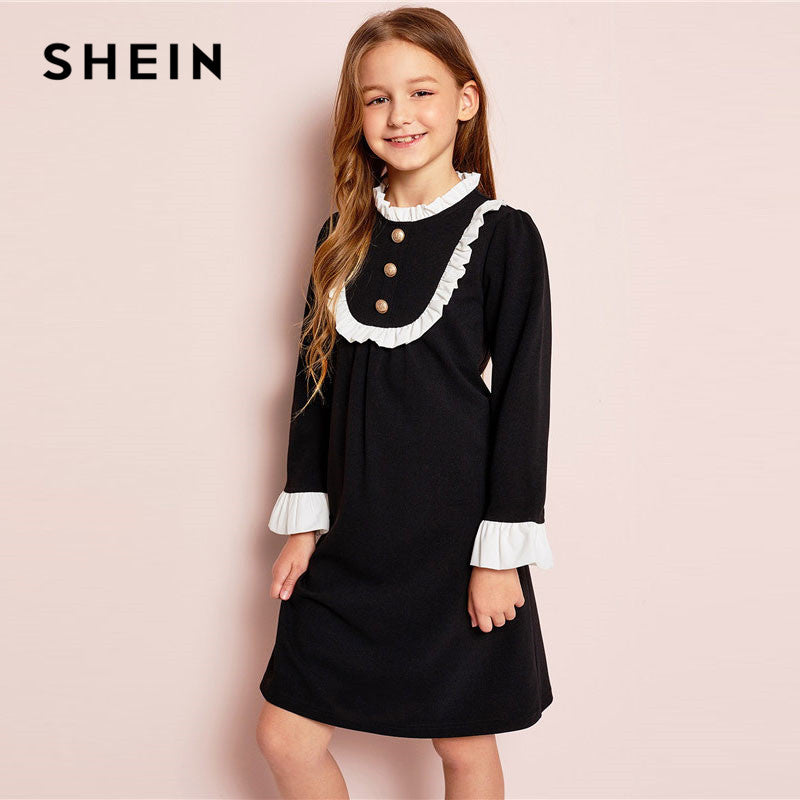 2ab322d428 SHEIN Girls Button Front Ruffle Yoke Bell Sleeve Midi Dress Spring Daughter  Pleated Stand Collar Preppy